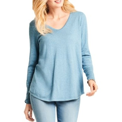 NIC and ZOE Young Women's Vital V-Neck Sweater Blue Chill most comfortable KSPA981