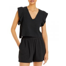 Rails Women's Miley Ruffled Sleeve Top Black Collection RGBW182