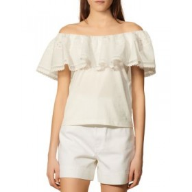 Sandro Women's Mauve Cotton Ruffled Off The Shoulder Top White Size XL The Most Popular OJQR161