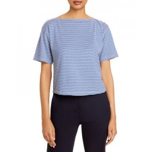 Theory Women's Striped Cotton & Linen Straight Tee Blue Multi Fit MWCP780