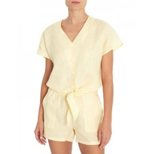 Three Dots Women Linen Tie Front Top Pastel Yellow High Quality online shopping IOHX797