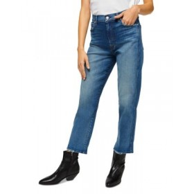 7 For All Mankind Womens High Waist Cropped Straight Leg Jeans in Blue Blue shopping KHZR610