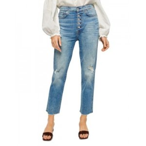 7 For All Mankind Young Women's High Waist Cropped Jeans Aquarius w/Destroy e fashion GWOI336
