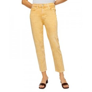 7 For All Mankind Young Women's High Waist Cropped Straight Leg Jeans in Mineral Marigold Mineral Marigold 40 Year Old Shop BJSH164