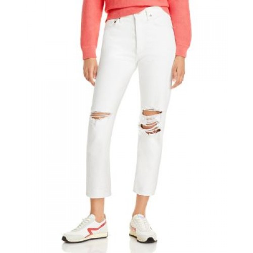 AGOLDE Girl's Riley High Rise Straight Leg Cropped Jeans in Veil (White) Veil (White) Size 32 YDRK544