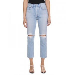 AGOLDE Girl's Riley Straight Cropped Jeans in Clear Skies Clear Skies Size 0 Casual XQCF327