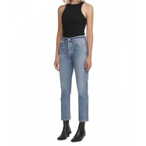 AGOLDE Women's Riley Cropped Straight Jeans in Emulsion Emulsion hot topic LBUG700