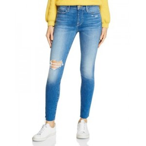 FRAME Women's Le Skinny De Jeanne Distressed Jeans in Madera Sax - 100% Exclusive Madera Sax Size 30 Trend PLKS615
