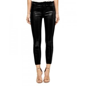 L'AGENCE Women's Margot Skinny Jeans in Black Coated Black Coated Business Casual QFMD267