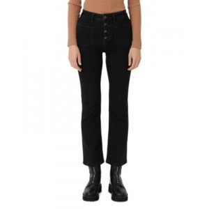 Maje Women's High-Waisted Black Jeans with Button Fly Black on sale near me FCGK597
