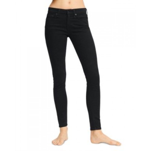 rag & bone Girl's Cate Mid Rise Ankle Skinny Jeans in Black Black Maternity lifestyle PYGE944