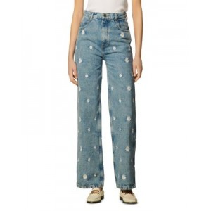Sandro Girls Flower Embroidered Ankle Jeans in Blue Jean Blue Jean Best CHUF621