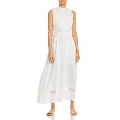 AQUA Girl's Lace Inset Maxi Dress - 100% Exclusive White For Summer Discount KVYX814