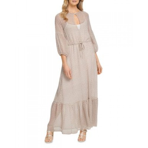 DKNY Women's Printed Peasant Maxi Dress Beige For Fall on clearance TYJP951