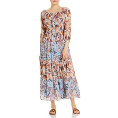 Olive Hill Womens Mixed Floral Peasant Dress Blue/Natural For Summer the best TEJZ973