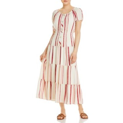 Olive Hill Women's Striped Tiered Peasant Dress Ivory/Rust Casual good quality GWEZ962