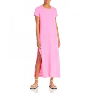 Sundry Women's Side Slit Maxi Tee Dress Pigment Neon Pink For Plus Size New Look INQU740