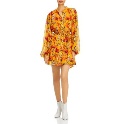 A.L.C. Womens Jen Printed Fit And Flare Dress Yellow Multi Summer On Line XFVP350