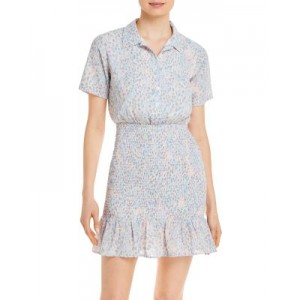 AQUA Women's Printed Smocked Mini Dress - 100% Exclusive Blue/Pink/White new in HLKX694