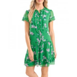 CeCe Young Women's Ruffled Floral Dress Jolly Green on style YPTJ848