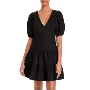 FRENCH CONNECTION Womens Birch Tiered Puff Sleeve Dress Black Going Out 2021 New HKCB519
