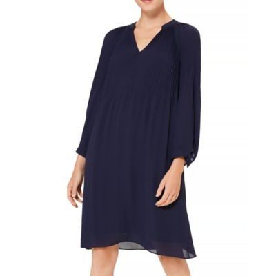 HOBBS LONDON Women's Emilia Pleated Shift Dress French Blue Collection DGTC521