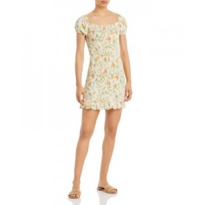 Lost and Wander Girl's Big Escape Floral Smocked Mini Dress Ivory Multi AZIW416