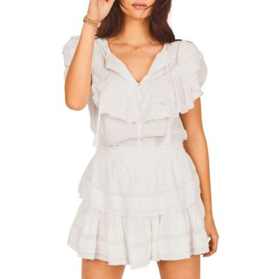 LoveShackFancy Girl's Liv Tiered Dress Antique White Casual BNGF480