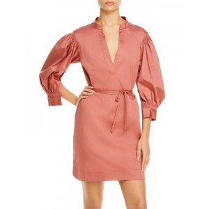 Rebecca Taylor Girl's Twill Belted Dress Rose Winter lifestyle KHRQ238