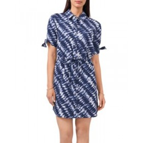 VINCE CAMUTO Women Tie Dye Shirt Dress Rich Navy Casual Lowest Price FEQQ768