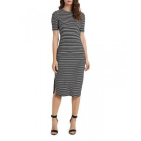 VINCE CAMUTO Young Women's Cap Sleeve Mini Striped Knit Dress Rich Black Size XL Recommendations ERYL683