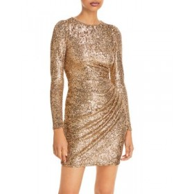 AQUA Young Women's Sequined Surplice Dress - 100% Exclusive Gold For The Over 40S Trends KYOS915