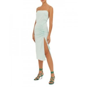 ba&sh Women's Cybile Ruched Open Back Midi Dress Green Water Fitted UEOH485