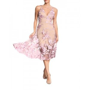 Dress the Population Women Audrey Plunging Midi Dress Lilac/Nude Recommendations PFDH253