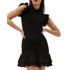 FRENCH CONNECTION Women's Ruffled Smocked Mini Dress Black cool designs WTRL424