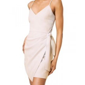 FRENCH CONNECTION Women's Whisper Faux Wrap Dress Summer White Elegant Casual GLYG407