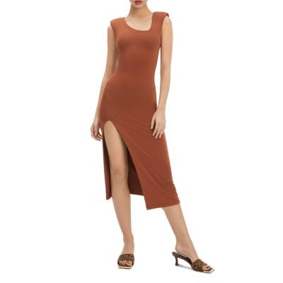 Good American Women Front Slit Knit Midi Dress Tortise Shell001 For Sale XNVW801