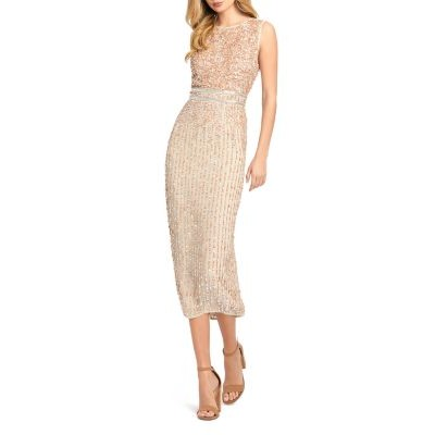 Mac Duggal Women's Sequined Midi Dress Nude in style GYJG882